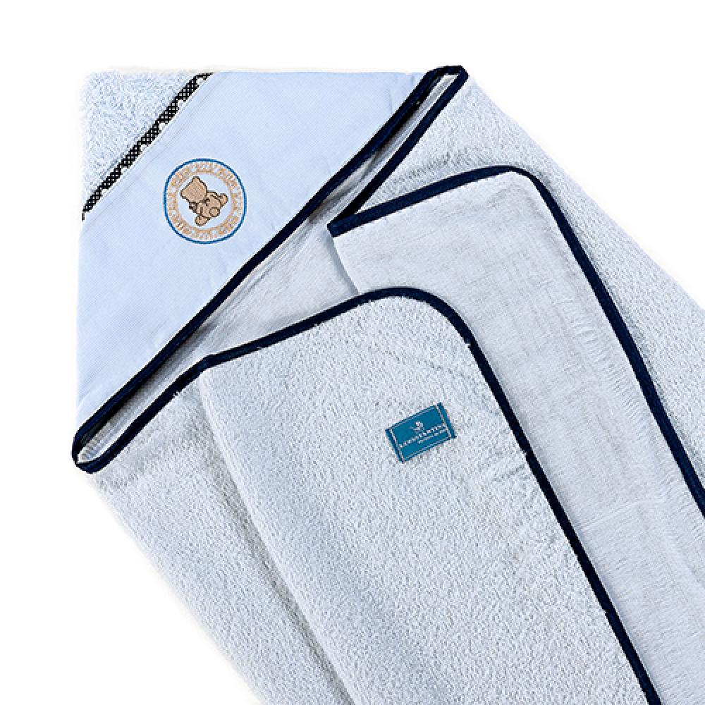 Toalha De Banho Bebê Com Capuz Tecido 100% Algodão Conforto - Ursinho Azul