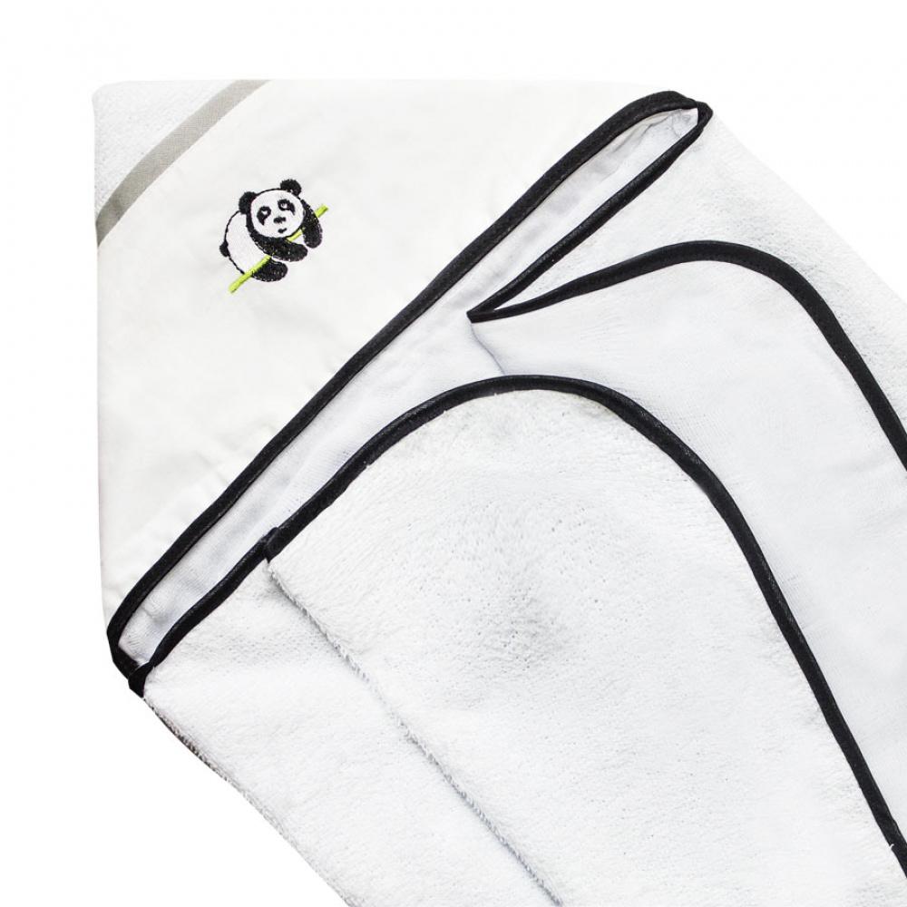 Toalha De Banho Bebê Com Capuz Tecido 100% Algodão Conforto - Ursinho Panda