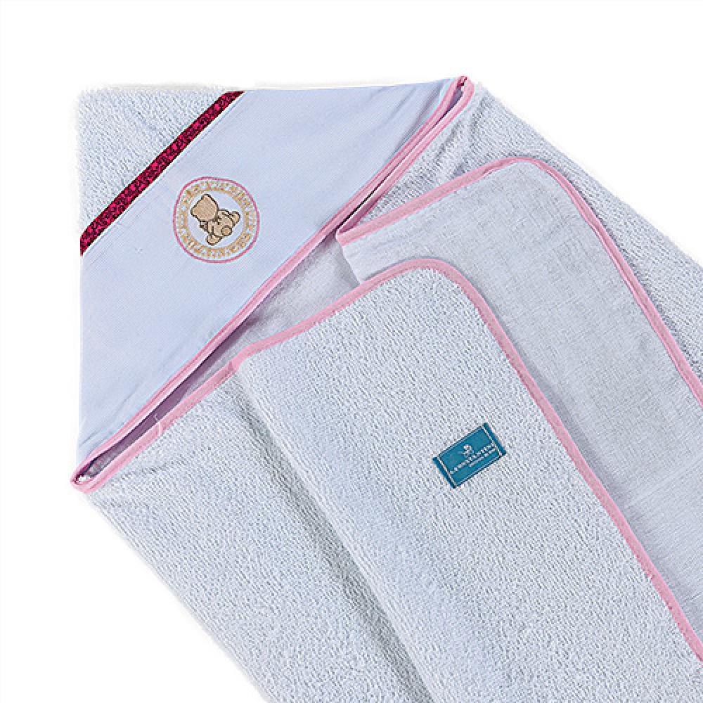 Toalha De Banho Bebê Com Capuz Tecido 100% Algodão Conforto - Ursinho Rosa