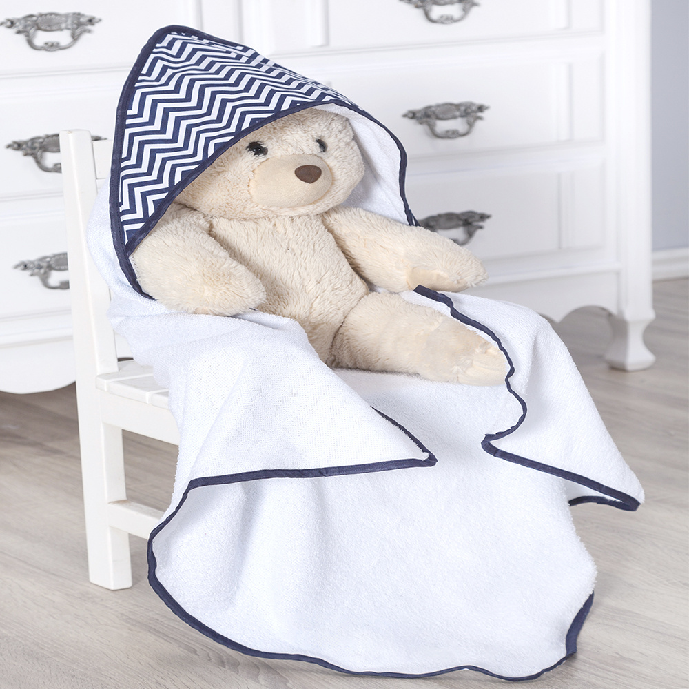 Toalha de banho bebê Com Capuz Tecido 100% Algodão Sonho Encantado - Azul Marinho