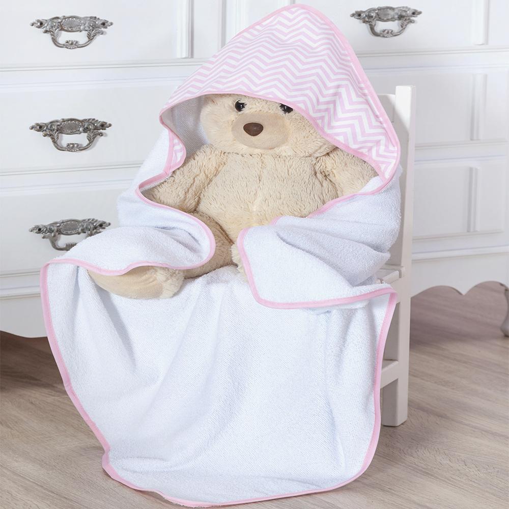Toalha de banho bebê Com Capuz Tecido 100% Algodão Sonho Encantado - Rosa