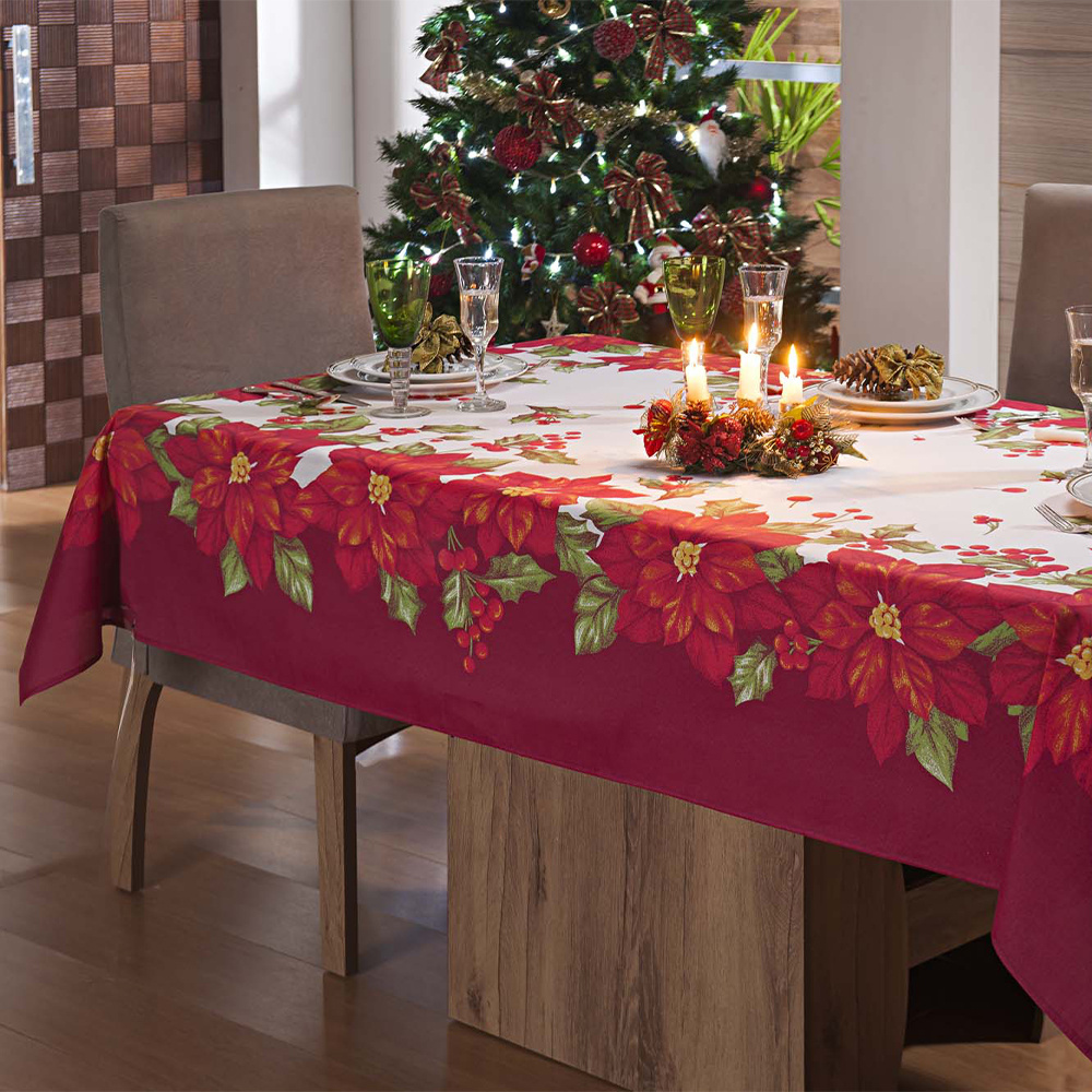 Toalha De Mesa De Natal 06 Cadeiras Retangular 2,15M x 1,40M Tecido Misto - Flowers