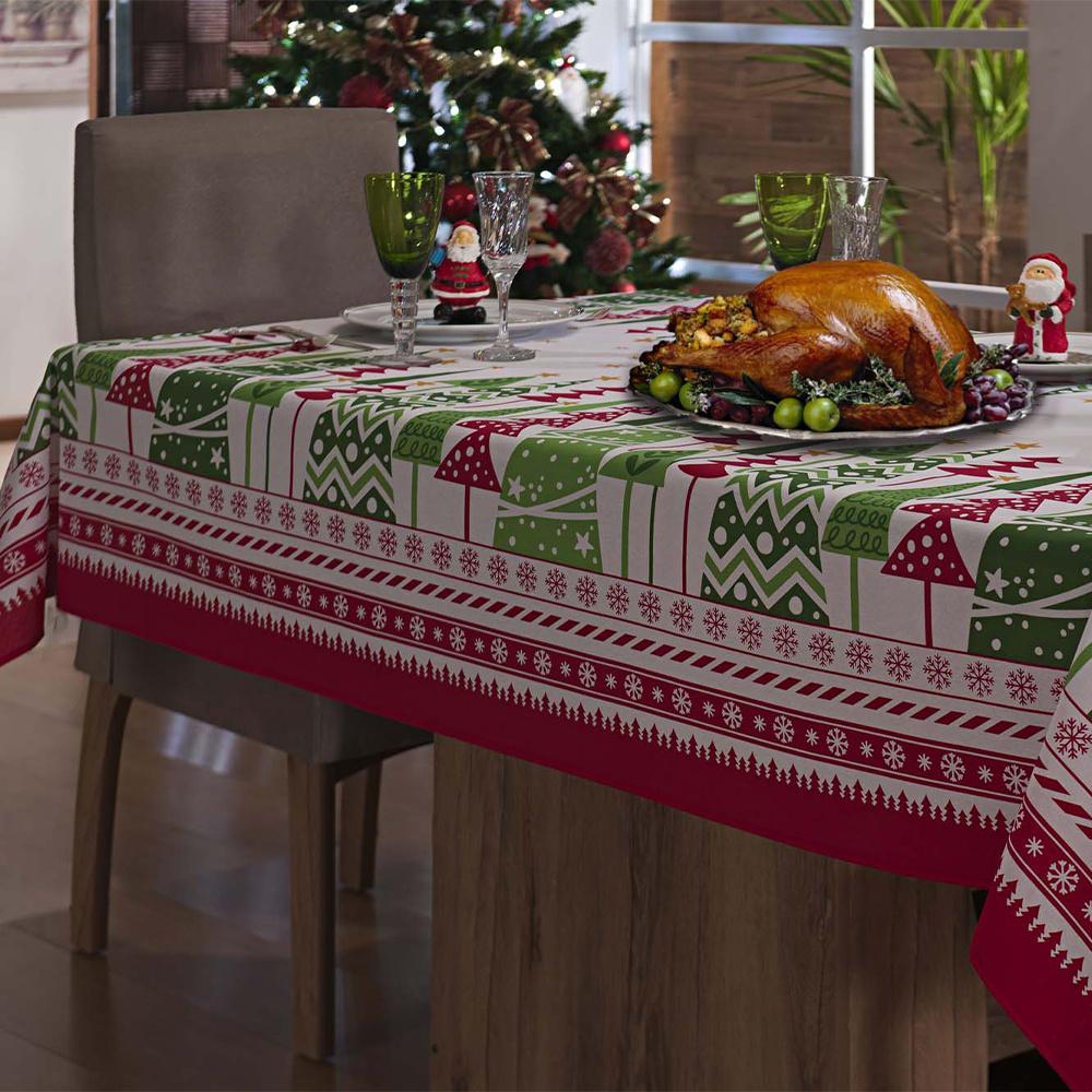 Toalha De Mesa De Natal 06 Cadeiras Retangular 2,15M x 1,40M Tecido Misto - Pinheiros