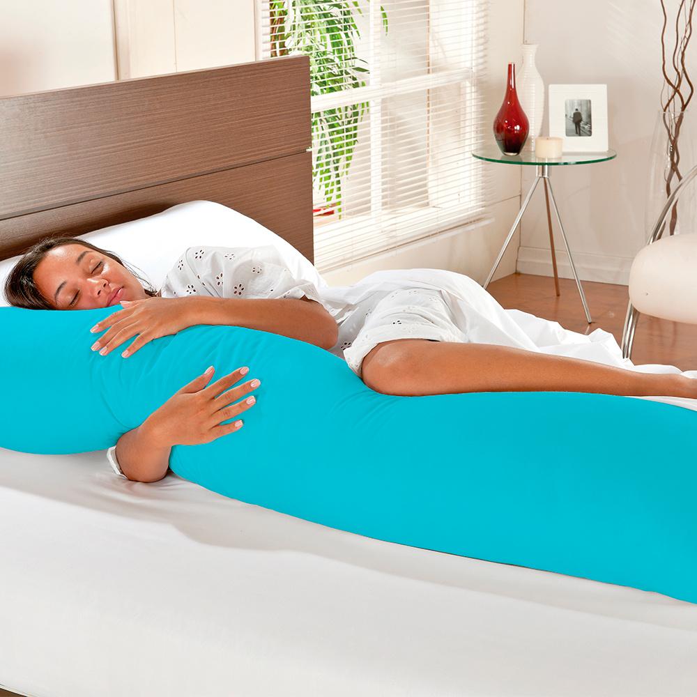 Travesseiro De Corpo Mega Xuxão 100% Algodão 1,45m X 45cm Com Fronha - Azul Turquesa