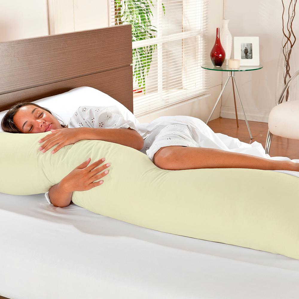 Travesseiro De Corpo Mega Xuxão 100% Algodão 1,45m X 45cm Com Fronha - Palha