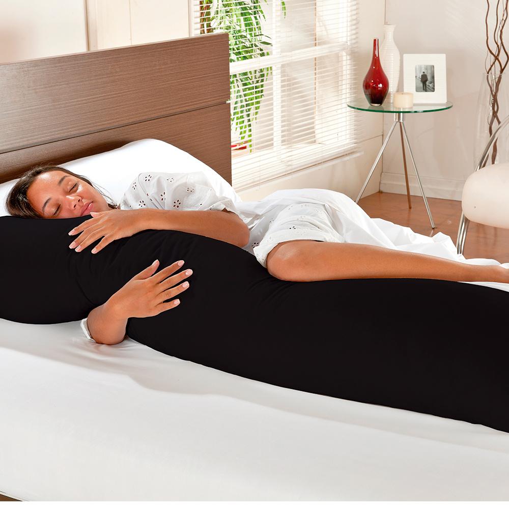 Travesseiro De Corpo Mega Xuxão 100% Algodão 1,45m X 45cm Com Fronha - Preto