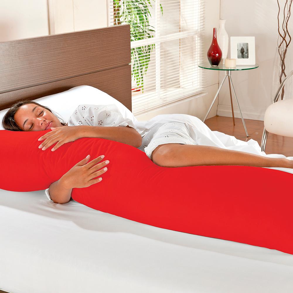 Travesseiro De Corpo Mega Xuxão 100% Algodão 1,45m X 45cm Com Fronha - Vermelho