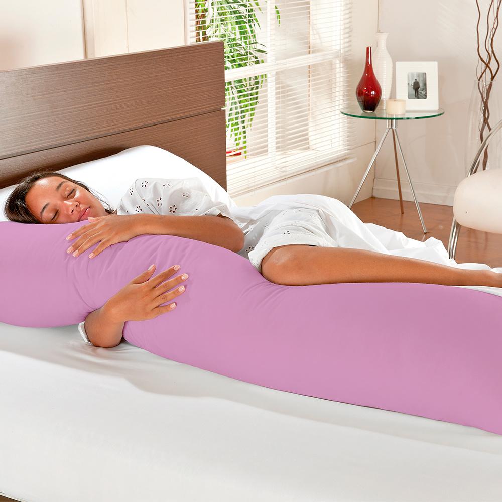 Travesseiro De Corpo Mega Xuxão 100% Algodão 90cm X 50cm Com Fronha - Lilás