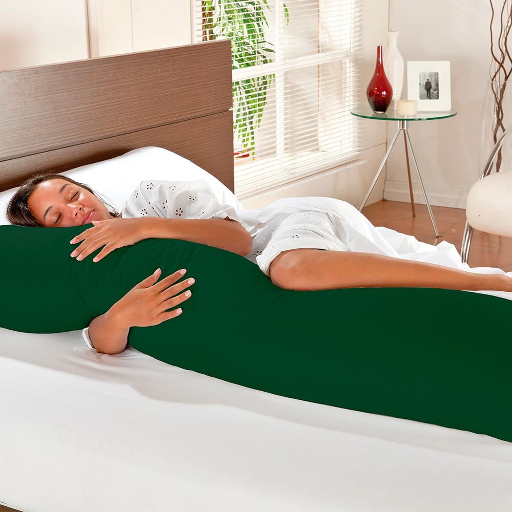 Travesseiro De Corpo Mega Xuxão 100% Algodão 90cm X 50cm Com Fronha - Verde Oliva