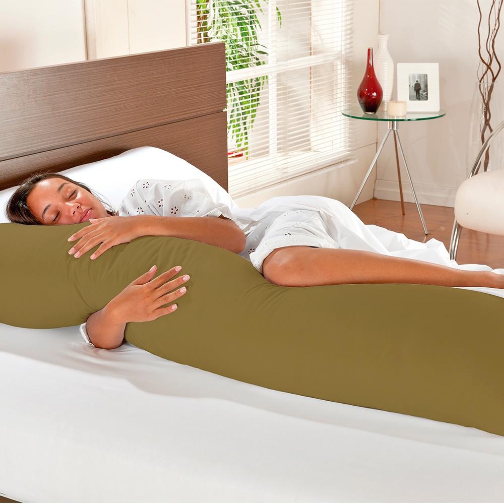Travesseiro De Corpo Mega Xuxão TNT 1,55m X 45cm Com Fronha Microfibra - Cáqui