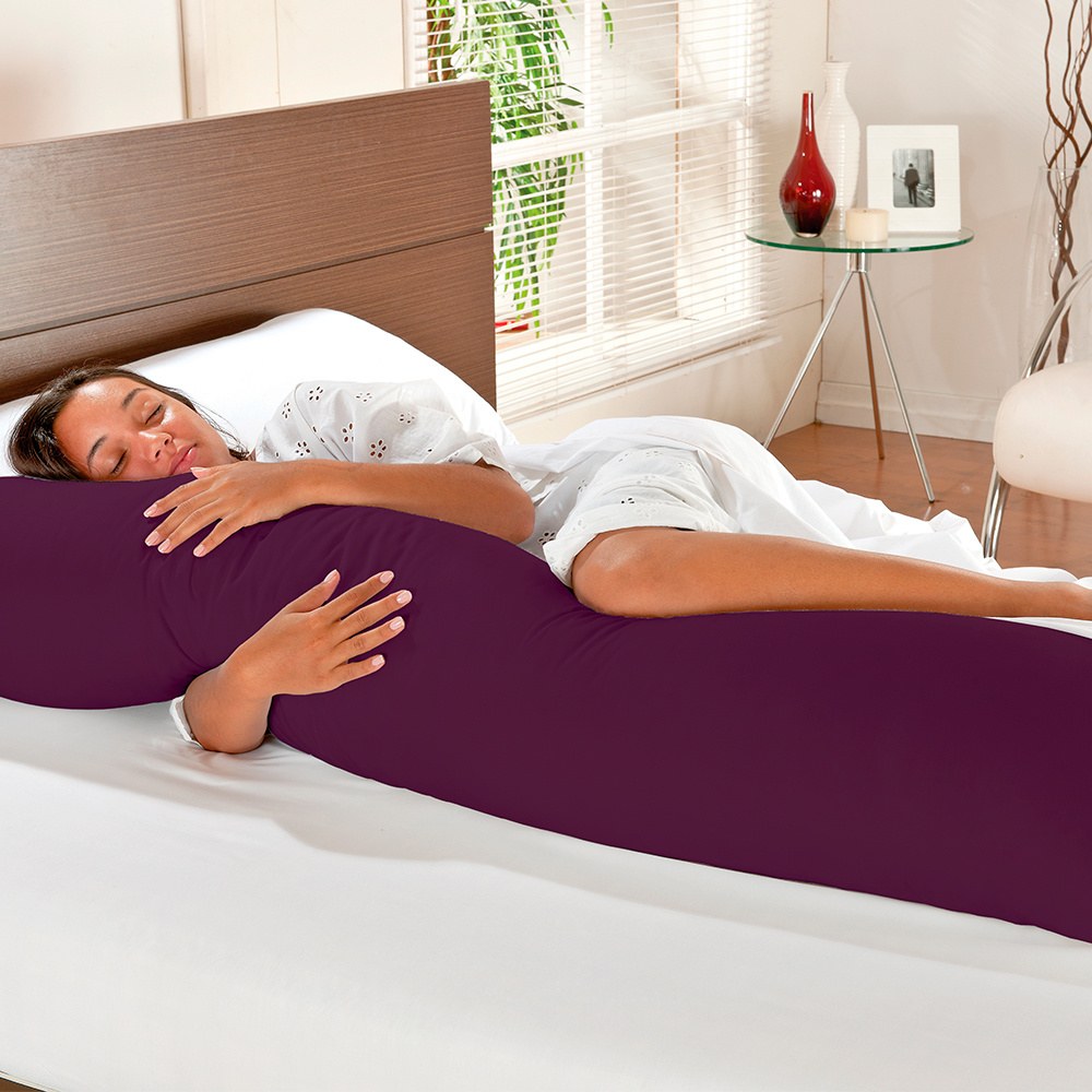 Travesseiro De Corpo Mega Xuxão TNT 90cm X 50cm Com Fronha Microfibra - Uva