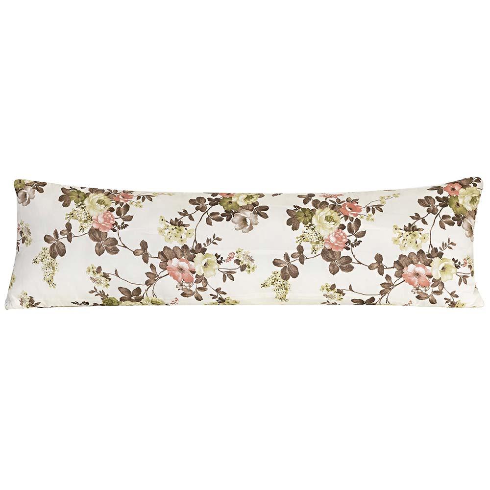 Travesseiro De Corpo Rafaela 1,40m X 45cm Com Fronha Tecido Misto Estampada - Floral Marron