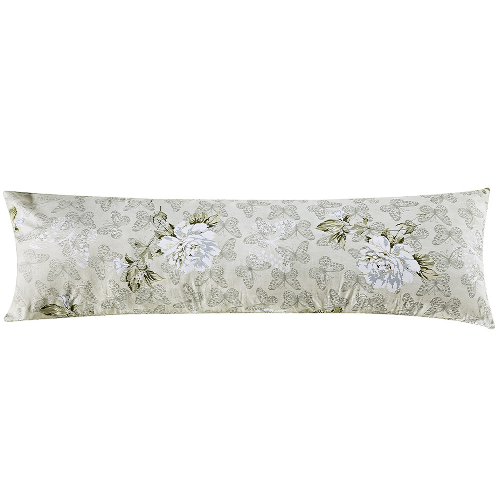 Travesseiro De Corpo Rafaela 1,40m X 45cm Com Fronha Tecido Misto Estampada - Floral Verde