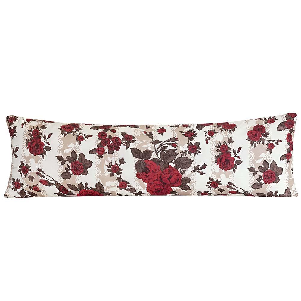 Travesseiro De Corpo Rafaela 1,40m X 45cm Com Fronha Tecido Misto Estampada - Floral Vermelho