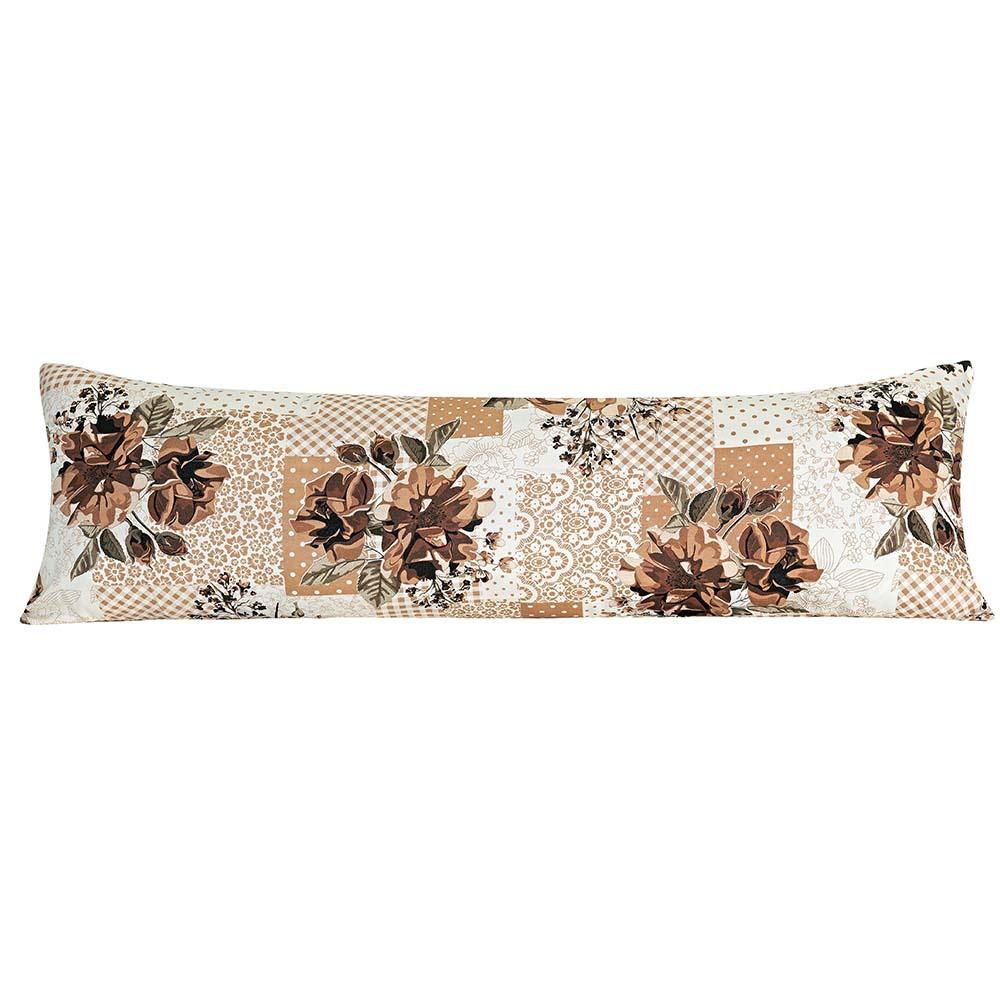 Travesseiro De Corpo Rafaela 1,40m X 45cm Com Fronha Tecido Misto Estampada - Patchwork