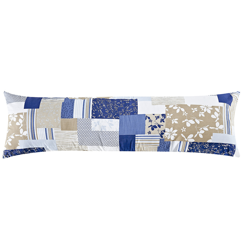 Travesseiro De Corpo Rafaela 1,40m X 45cm Com Fronha Tecido Misto Estampada - Patchwork Azul