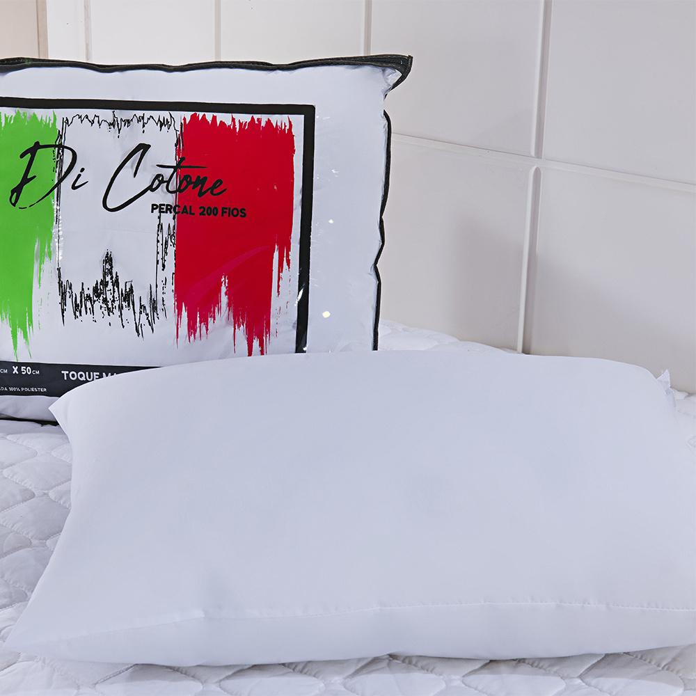 Travesseiro Di Cotone 70cm X 50cm Perfil Médio 100% Algodão Percal 200 Fios Com Enchimento De Silicone