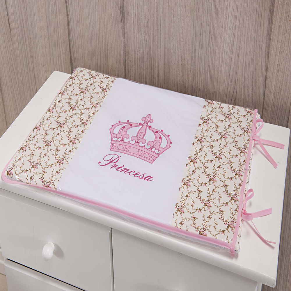 Trocador Para Cômoda De Bebe 02 Peças 70cm x 50cm Tecido Misto  Menina Princesa Imperial - Rosa