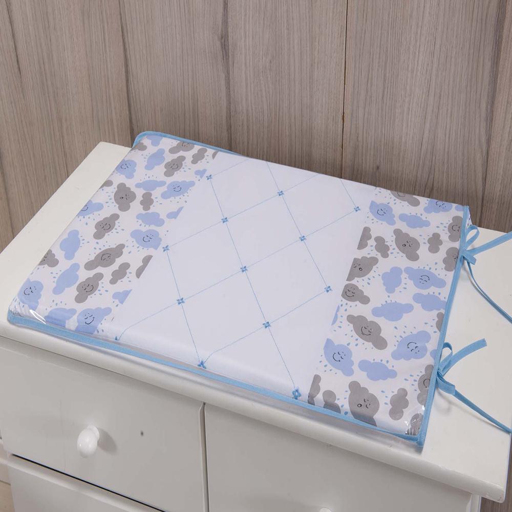 Trocador Para Cômoda De Bebe 02 Peças 70cm x 50cm Tecido Misto Menino Nuvem - Azul Claro