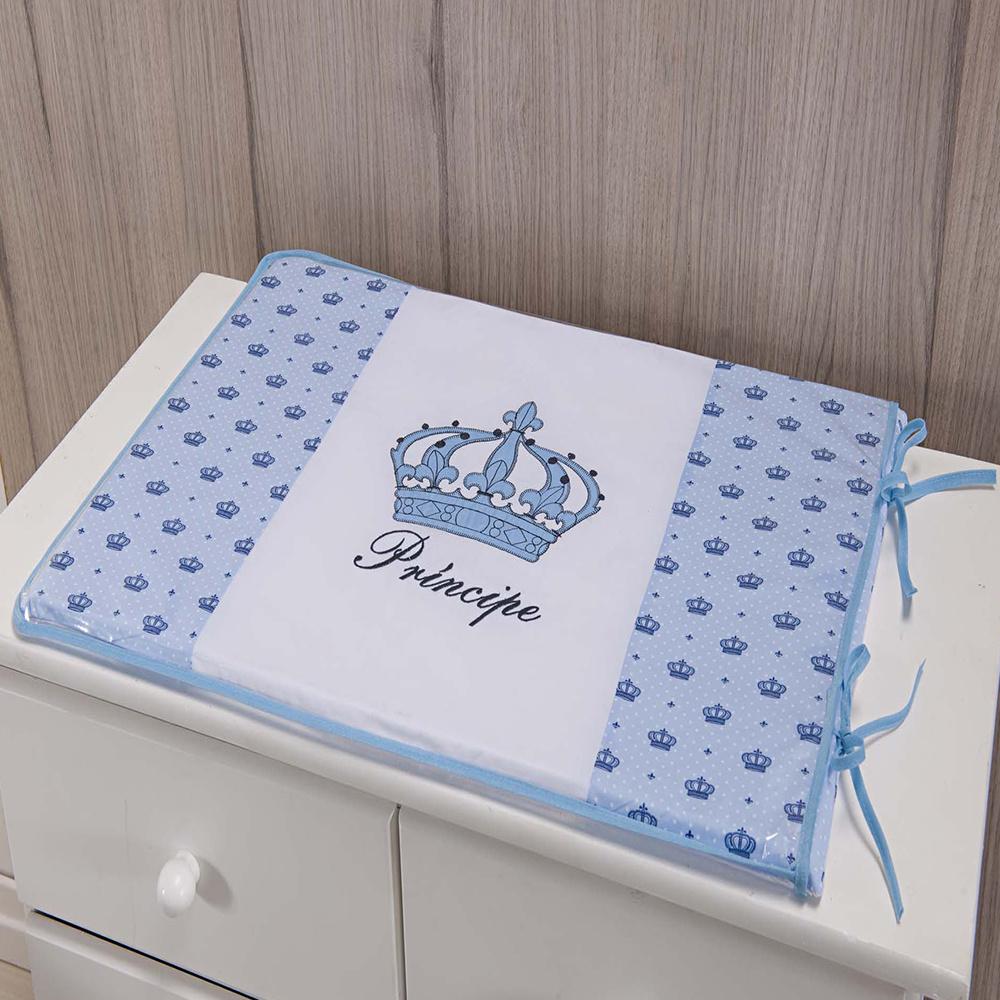 Trocador Para Cômoda De Bebe 02 Peças 70cm x 50cm Tecido Misto  Menino Príncipe Imperial - Azul Claro