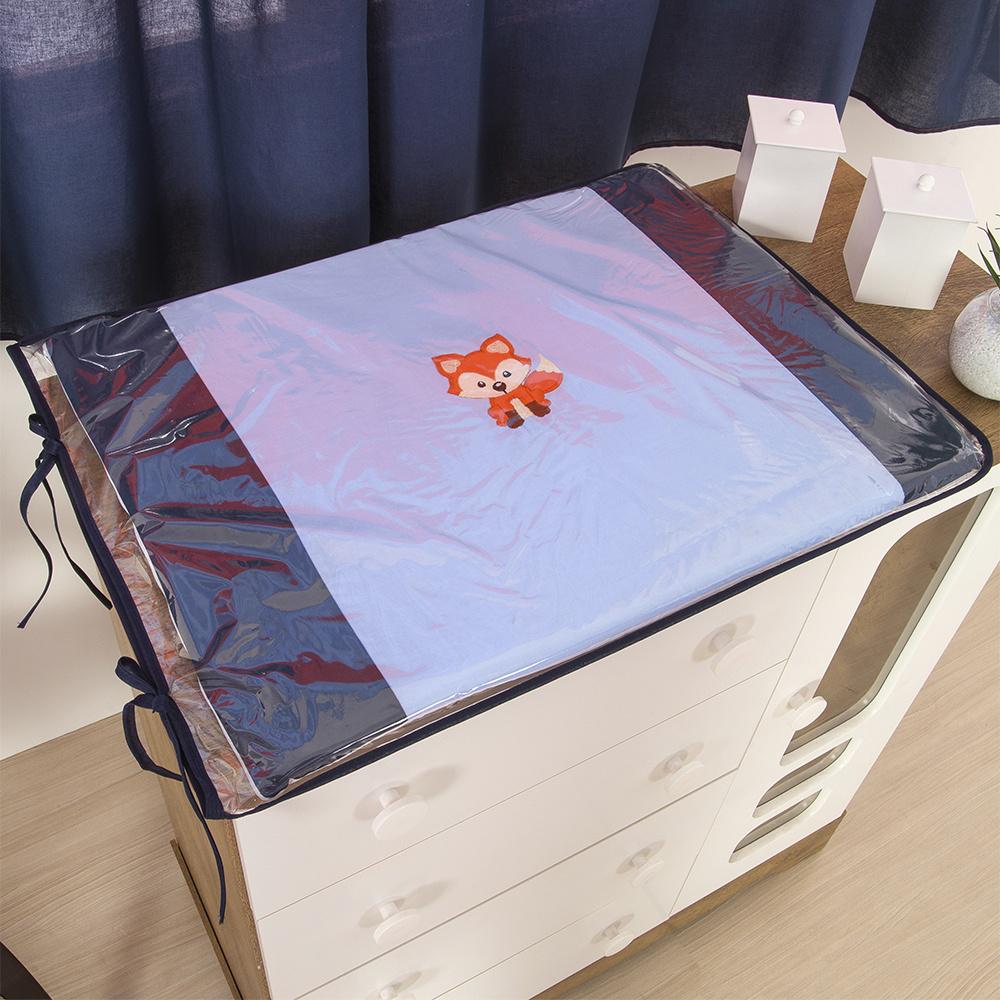 Trocador Para Cômoda De Bebe 02 Peças 70cm x 50cm Tecido Misto Menino Raposinha  - Azul Claro