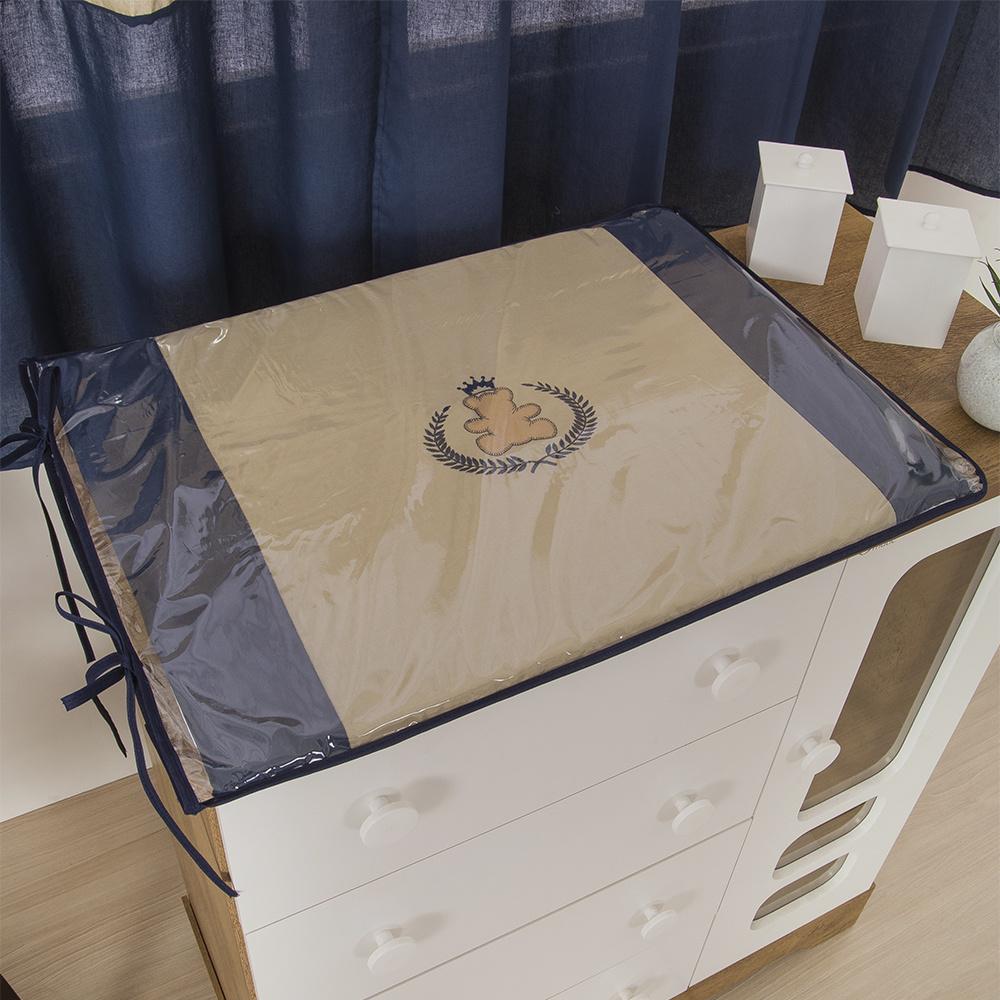 Trocador Para Cômoda De Bebe 02 Peças 70cm x 50cm Tecido Misto Menino Ursinho Ted  - Azul Marinho
