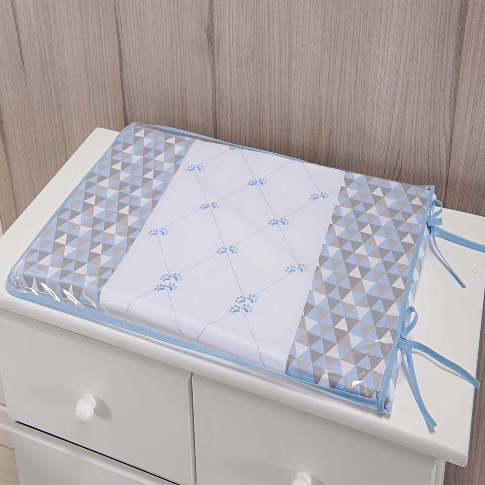 Trocador Para Cômoda De Bebe 02 Peças 70cm x 50cm Tecido Misto Menino Urso - Azul Claro