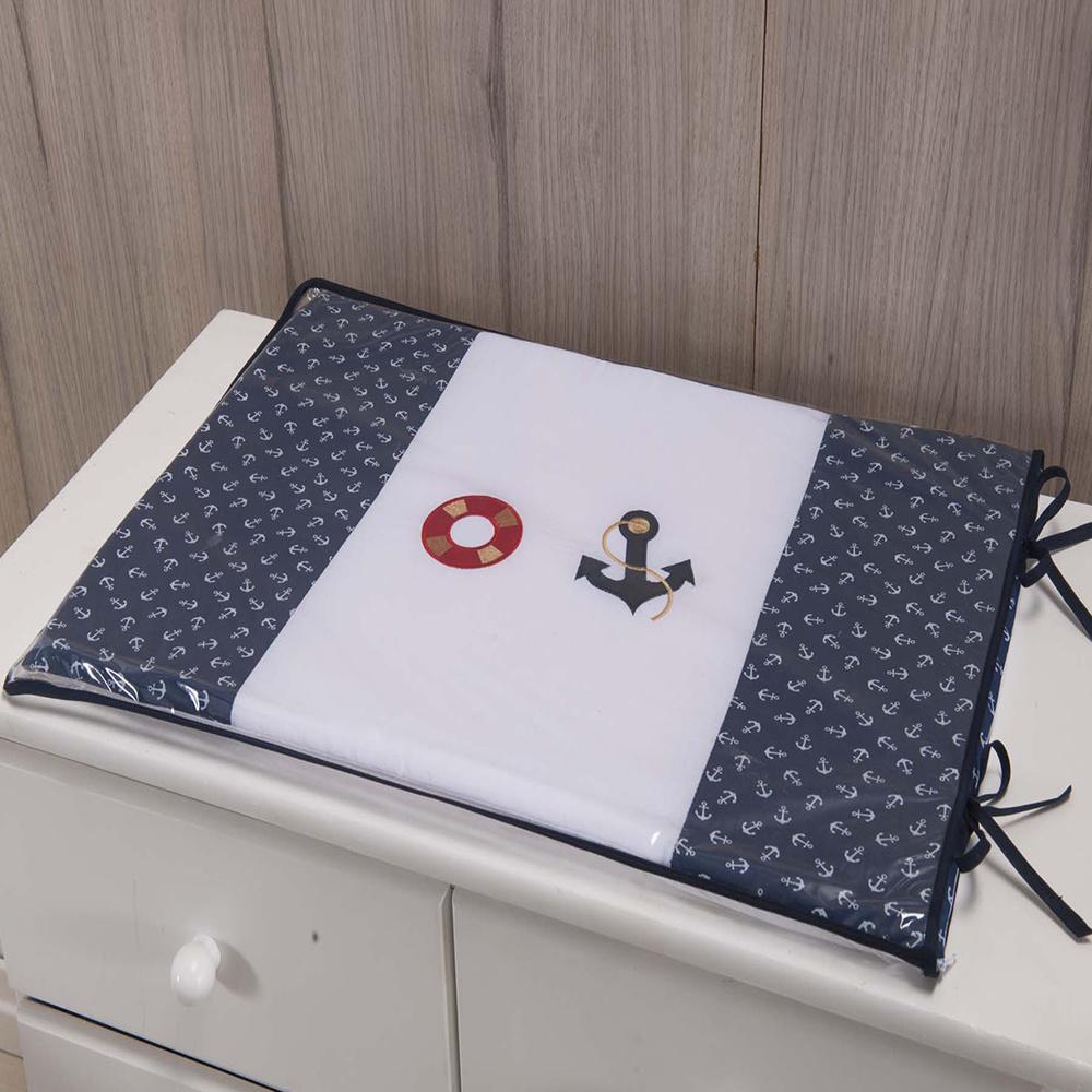 Trocador Para Cômoda De Bebe 02 Peças 70cm x 50cm Tecido Misto Menino Urso Marinheiro - Azul marinho