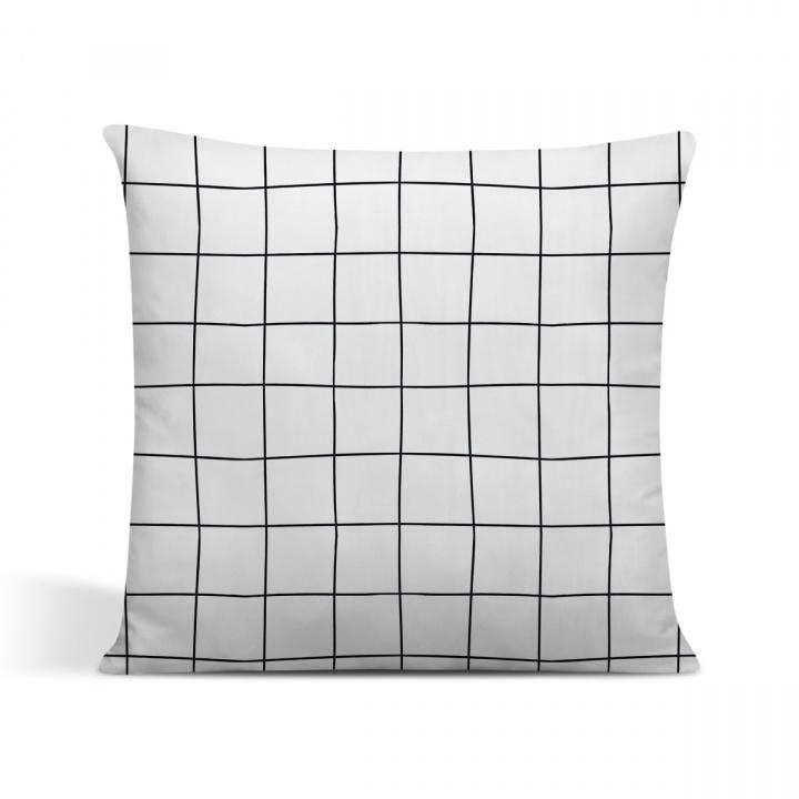 capa de almofada cor branca estilo grades