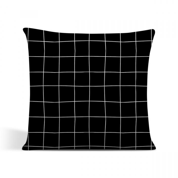 capa de almofada cor preta estilo grades