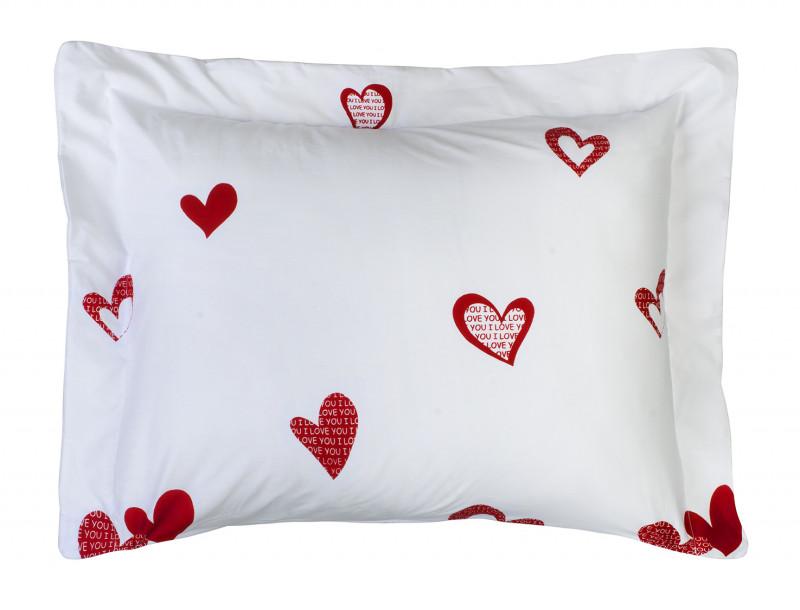 Porta Travesseiro Desire Estampado 1 Peça 200 Fios Coração